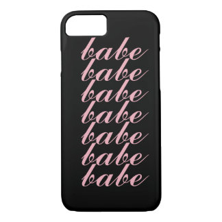 "Girly Pink Minimal ""Babe"" Love iPhone 7 Case"