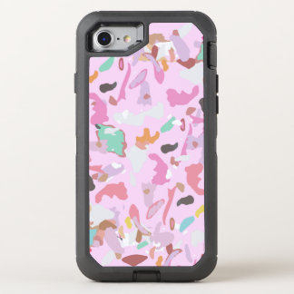 Girly Pink Modern Abstract Camo Art OtterBox Defender iPhone 8/7 Case