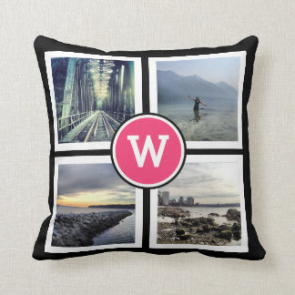 Girly Pink Monogram Instagram Photos 2 Sided Throw Pillow