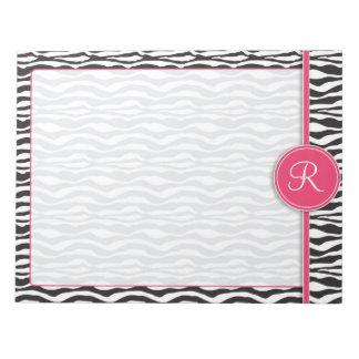 Girly Pink Monogram Zebra Print Notepad