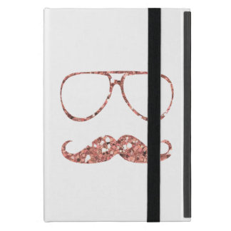 GIRLY PINK MUSTACHE GLASSES GLITTER iPad MINI COVER