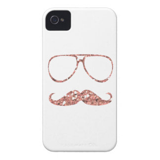 GIRLY PINK MUSTACHE GLASSES GLITTER iPhone 4 Case-Mate CASES
