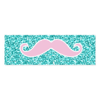 GIRLY PINK MUSTACHE ON TEAL GLITTER EFFECT PACK OF SKINNY BUSINESS CARDS