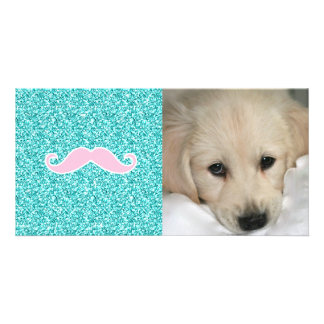 GIRLY PINK MUSTACHE ON TEAL GLITTER EFFECT PHOTO CARDS