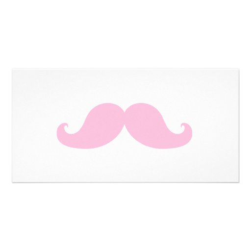 Girly Pink Mustache Personalized Photo Card