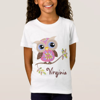 Girly Pink Owl Baby Doll T Shirts