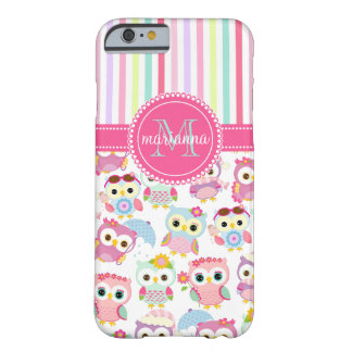 Girly Pink Owls Cute Pattern PersCustomize Product Barely There iPhone 6 Case