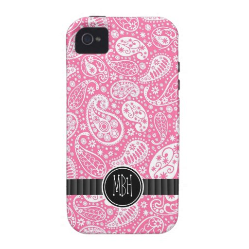 Girly PINK Paisley Pattern with Monogram iPhone 4/4S Cases