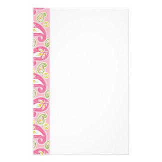 Girly Pink Paisley Stationery Design