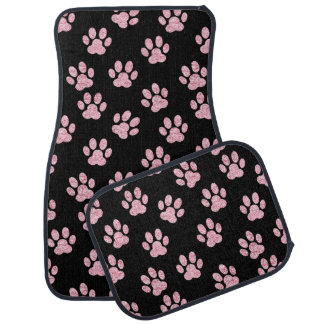 girly pink pet paws on any background color car mat