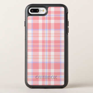 Girly Pink Plaid Pattern OtterBox Symmetry iPhone 7 Plus Case