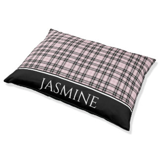 Girly Pink Plaid Personalized Pet Bed