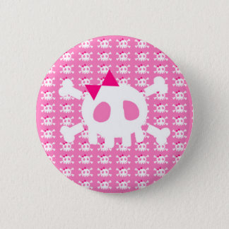 Girly Pink Punk Skull 2 Inch Round Button