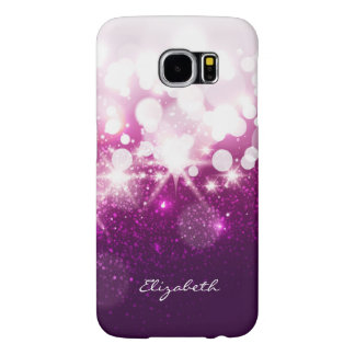 Girly Pink Purple Glitter and Sparkles Samsung Galaxy S6 Cases