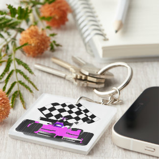 Girly Pink Race Car with Checkered Flag Double-Sided Square Acrylic Keychain