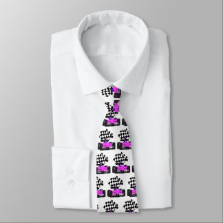 Girly Pink Race Car with Checkered Flag Tie