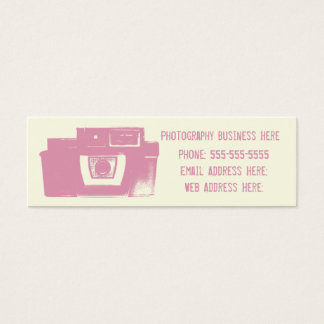 Girly Pink Retro Film Camera Business Card