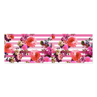 Girly Pink Retro Floral Pattern Pink Ombre Stripes Pack Of Skinny Business Cards