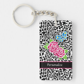 Girly Pink Rose Mosaic Leopard Print With Name Double-Sided Rectangular Acrylic Keychain