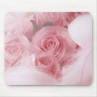 Girly Pink Roses and Feathers Mouse Pad
