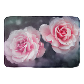 Girly Pink Roses Floral Photo Bath Mat
