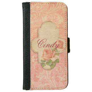 Girly Pink Roses Personalized iPhone 6 Wallet Case