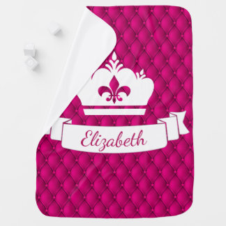 Girly Pink Royal Princess Pin-tucked Crown Baby Blanket