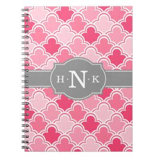 Girly Pink Scallop Pattern Grey Monogram Notebook