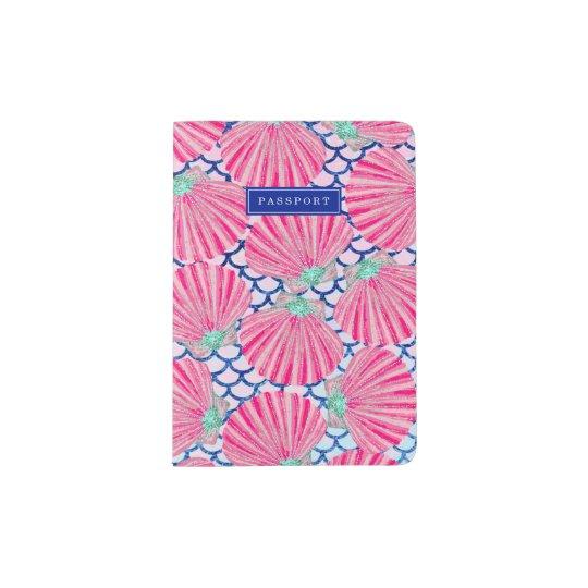 Girly Pink Shells Pattern Personalized Passport Holder