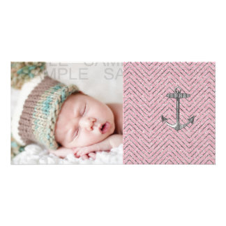 Girly Pink Silver Glitter Chevron Pattern Anchor Picture Card