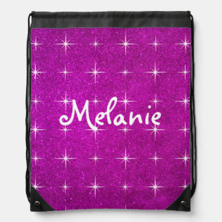 Girly pink sparkly glitter drawstring backpack bag