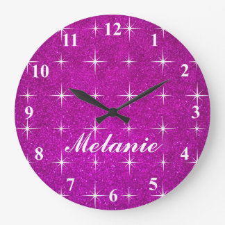 Girly pink sparkly glitter wall clock for girls