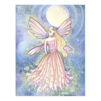 Girly PInk Star Fairy Art by Molly Harrison Postcard