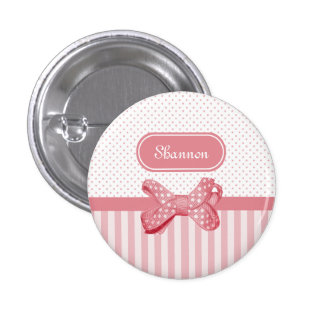 Girly Pink Stripes Cute Polka Dot Bow With Name 1 Inch Round Button