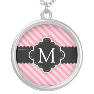 Girly Pink Stripes Pattern Black Custom Monogram Round Pendant Necklace