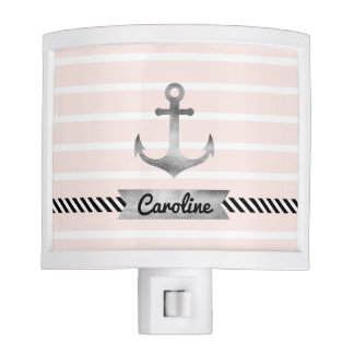 Girly Pink Stripes Watercolor Anchor Custom Night Light