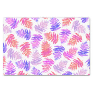 Girly pink summer trendy watercolor fern pattern tissue paper