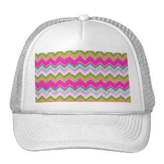 Girly Pink Teal Chevron Gold Glitter Photo Print Hat