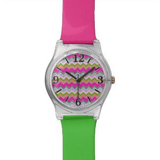 Girly Pink Teal Chevron Gold Glitter Photo Print Wristwatches
