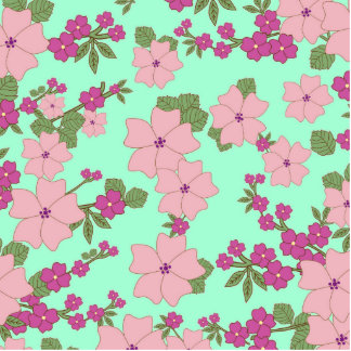 Girly Pink Teal Floral Pattern Photo Cutout