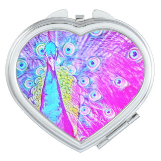 Girly Pink & Teal Peacock Heart Compact Mirror