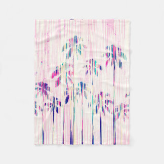 Girly Pink Teal Watercolor Dripping Palm Trees Fleece Blanket