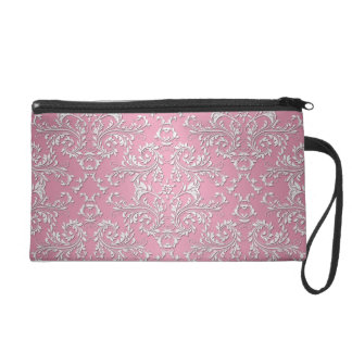 Girly Pink Victorian Damask Pattern Wristlet