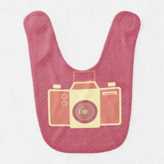 Girly pink vintage camera baby bibs