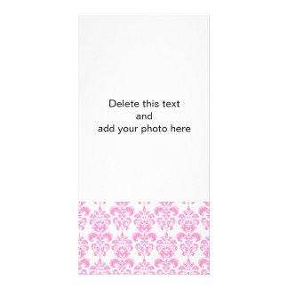 Girly Pink Vintage Damask Pattern 2 Customized Photo Card