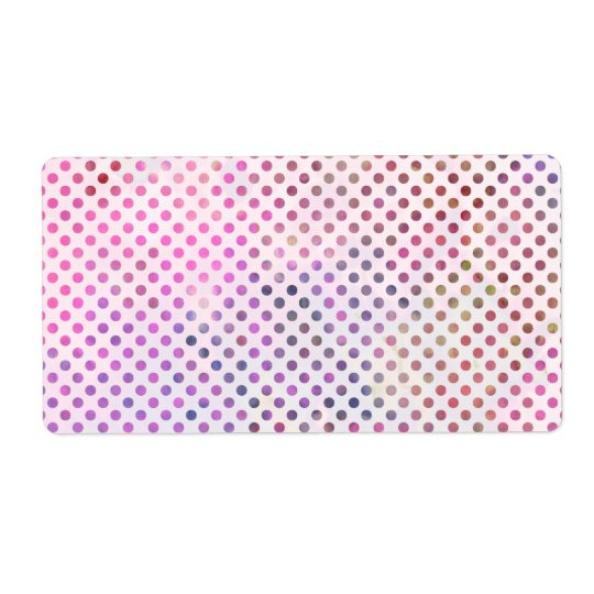 Girly Pink Watercolor Cute Polka Dots Pattern Shipping Label