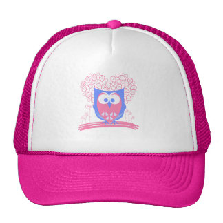 Girly Pink Whimsical Cute Owl hat
