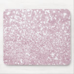 Girly Pink White Abstract Glitter Photo Print Mouse Pad