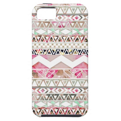 Girly Pink White Floral Abstract Aztec Pattern iPhone 5 Covers