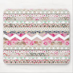 Girly Pink White Floral Abstract Aztec Pattern Mouse Pad